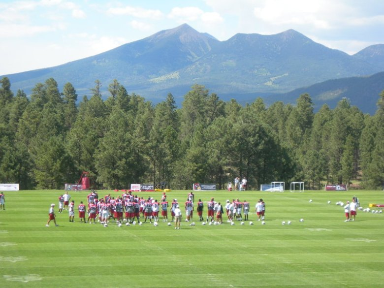 San Francisco Peaks behind the AZ Cardinals
