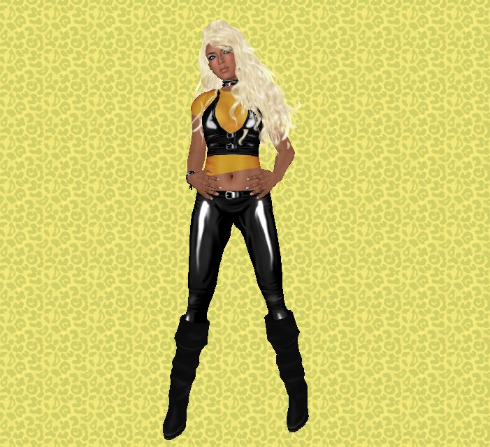 Yellow and Black Outfit with Blonde Hair